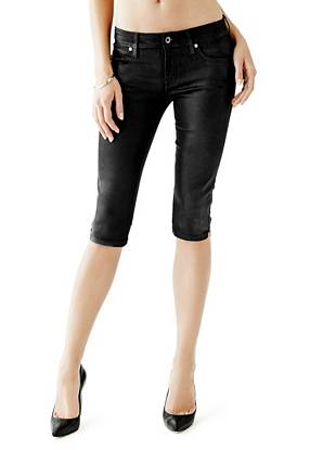 Denim Low Rise Jeans - Low-Rise Knee-Cap Push-Up Jeans in Coated Black Wash