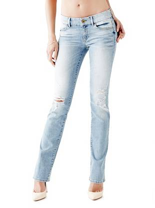 Indigo Wash Jeans - Mid-Rise Mini Bootcut Jeans in Military Destroy Wash
