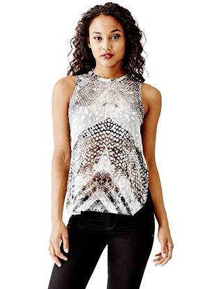 Animal Print Tank Tops - Snake-Print Woven Muscle Tank