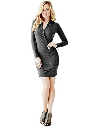 Faux Leather Evening Dresses - Long-Sleeve Faux-Leather Cuff Dress