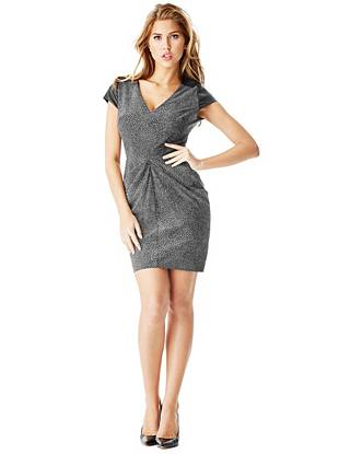 Faux Leather Sexy Dresses - V-Neck Tulip Dress with Faux-Leather Sleeves