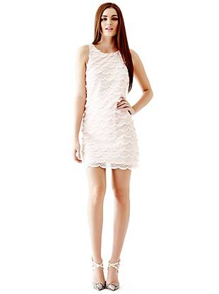 Lace Spring Dresses - Sleeveless Scallop-Lace Shift Dress