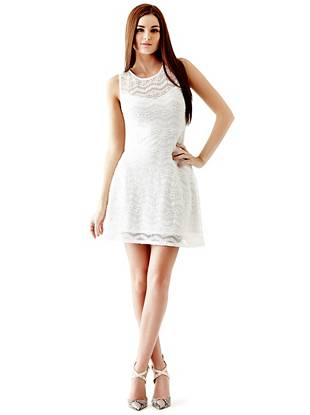 Lace Spring Dresses - Sleeveless Chevron Lace Dress