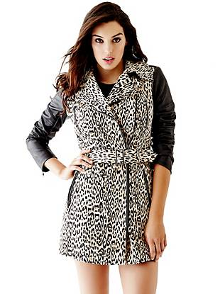 Leather Jackets - Quilted Faux Leather-Sleeve Trench Coat