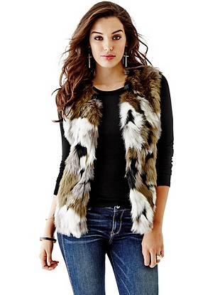 Camouflage Mixed Faux-Fur Vest
