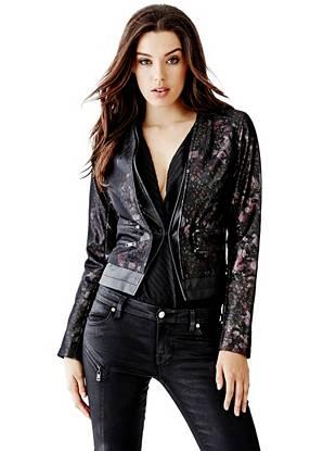 Leather Jackets - Long-Sleeve Techy Rose Moto Jacket