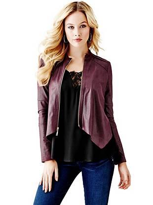 Leather Jackets - Long-Sleeve Python-Textured Jacket