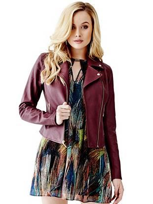 Leather Jackets - Mikayla Faux-Leather Moto Jacket