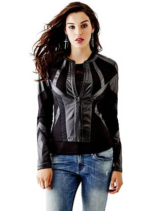 Leather Jackets - Mixed Ponte Faux-Leather Jacket