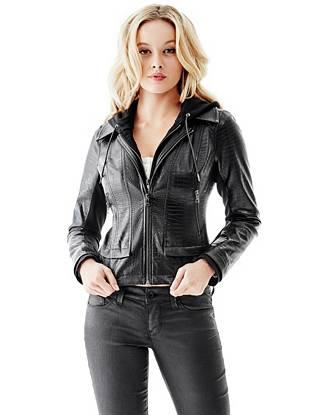 Leather Jackets - Crocodile-Embossed Faux-Leather Hoodie Jacket