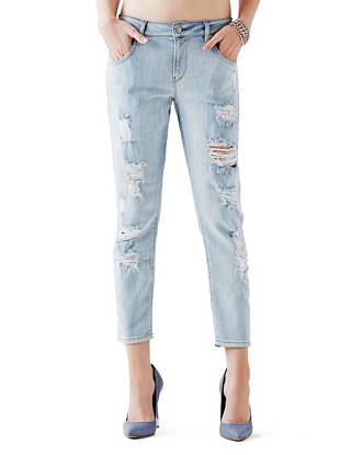 Mid-Rise Destroyed & Ripped Jeans - Mid-Rise Boyfriend Jeans in Sawtelle Destroy Wash