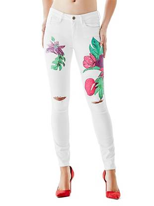 Mid-Rise Destroyed & Ripped Jeans - Brittney Mid-Rise Skinny Jeans with Flowers