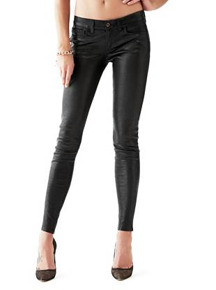 Low-Rise Power Skinny Leather Pants