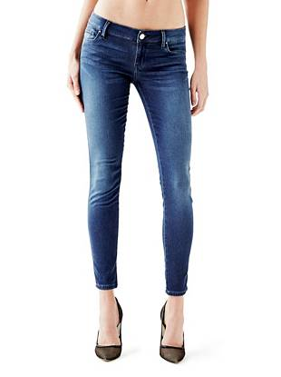 Indigo Wash Jeans - Low-Rise Tailored Power Skinny Jeans in Basic Blue Wash