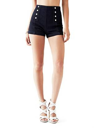 High-Rise Nautical Denim Shorts with Silicone Rinse