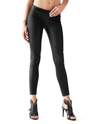 Imogen Snake-Textured Leather Leggings