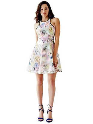 Fifi Floral-Print Shadow-Stripe Dress
