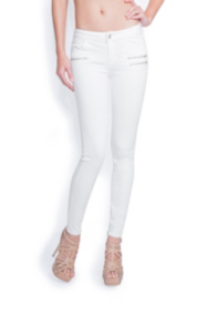Rebel Moto Zip White Skinny Jeans