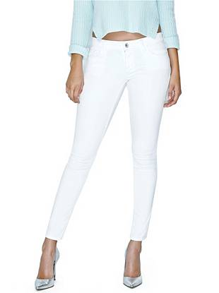 Denim Low Rise Jeans - Low-Rise Power Skinny Jeans in Optic White Wash