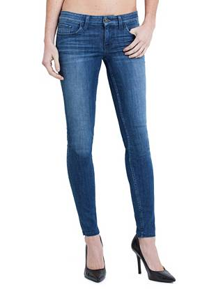 Low-Rise Power Skinny Denim Leggings in Lyon Wash, Long