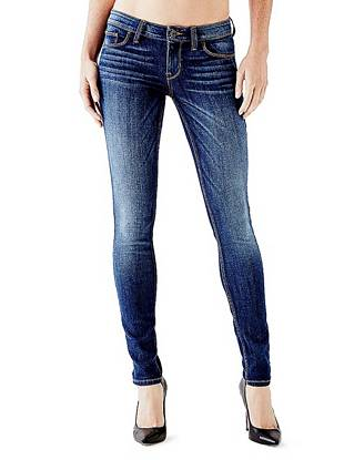 Indigo Wash Jeans - Low-Rise Power Skinny Jeans in Reller Wash