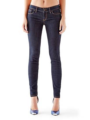 Indigo Wash Jeans - Low-Rise Power Skinny Jeans with Silicone Rinse