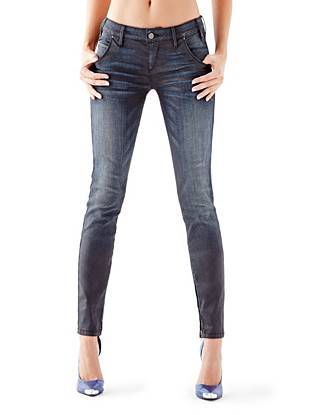 Low-Rise Moto Skinny Jeans in Cashville Wash