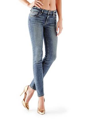Indigo Wash Jeans - Mid-Rise Power Curvy Jeans in Pedigree Wash