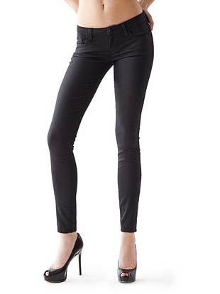 Denim Low Rise Jeans - Low-Rise Power Skinny Jeans with Black Silicone Rinse