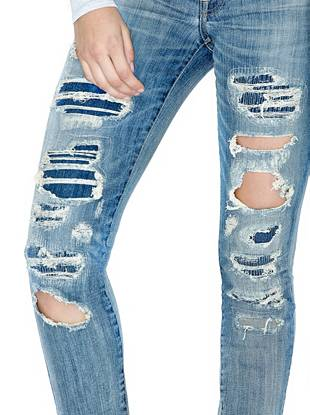 Indigo Wash Jeans - Mid-Rise Power Curvy Jeans in Blue Lake Destroy Wash