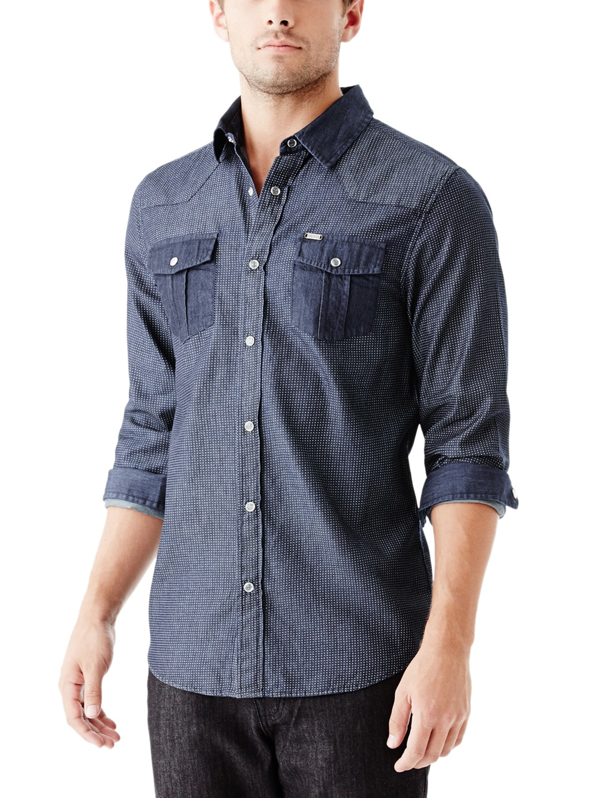 Guess men 39 s brigg chambray shirt ebay for Chambray 7 s