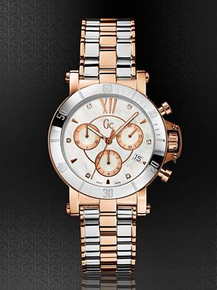 Gc Swiss Watches - GC Femme Silver and Rose Gold-Tone with Diamonds Timepiece