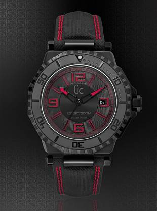 Performance meets style with this iconic diver timepiece. The stylish black PVD case, black PVD bezel and black dial feature bold red accents, and its precision Swiss movement is complete with a date window. With water resistance of up to 1,000 feet and a black water-resistant Gomme Techno Strap, this style is perfect for the man who loves the nautical lifestyle.       • 44 mm case • Screw-down crown with embossed Gc logo                                                                                                      • Water resistant up to 1000 feet/300 meters • Sapphire crystal  •