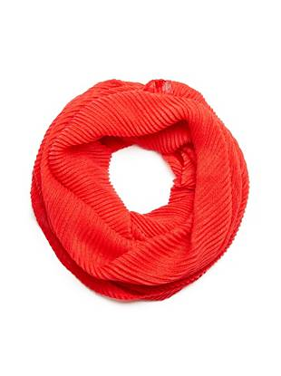 Red Ribbed Infinity Scarf