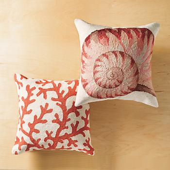Gump's San Francisco - Coral Pillow :  under the sea gumps san francisco home accent throw pillows