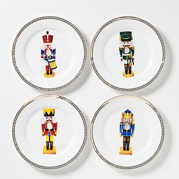 Gump's San Francisco - Nutcracker Plates Gift Set, Set of 4