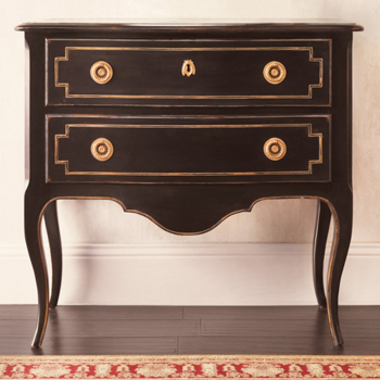 CABRIOLE BLACK 2 DRAWER CHEST