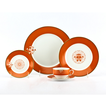 J. Chew Lotus Pavillion Tangerine Dinnerware