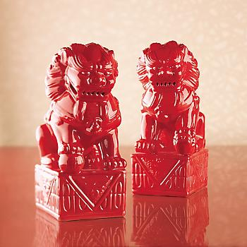 RED FOO DOG PAIR