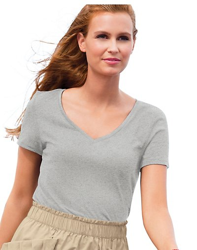 Hanes-Signature-Womens-Soft-As-Silk-V-Neck-T-Shirt-style-T003418