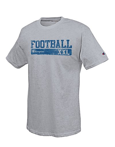 Champion-Cotton-Rich-Men-039-s-T-Shirt-with-039-Football-Scrimmage-039-Graphic-GT81