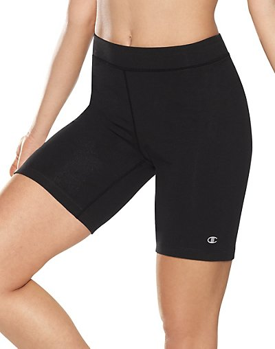 Stretch knit bike shorts made in the perfect fit. A stretch elastic waistband is super comfortable and adjusts to the body's shape. Great for being active or as a layer under tunics, dresses and tops.