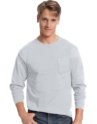 Hanes-Mens-TAGLESS-Long-Sleeve-T-Shirt-with-Pocket-style-5596