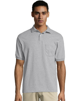 Hanes Men's Cotton-Blend EcoSmart® Jersey Polo with Pocket men Hanes