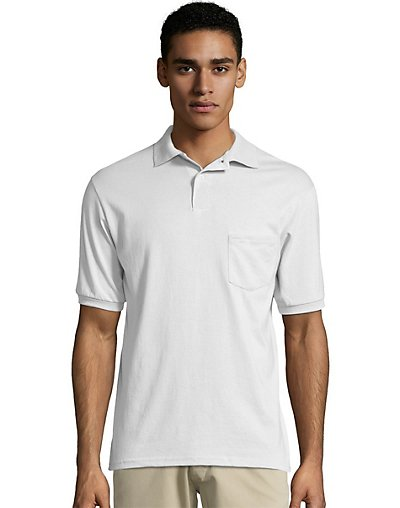 Hanes Cotton-Blend Jersey Men's Polo with Pocket - 0504