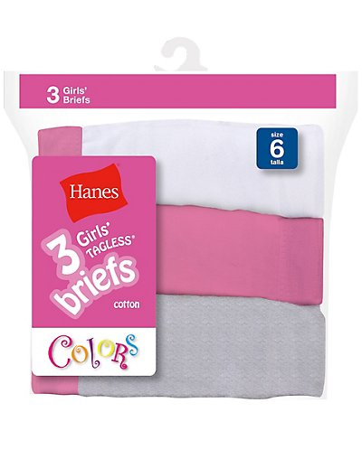 Hanes Girls' No Ride Up Cotton Colored Briefs 3-Pack - 1300WP