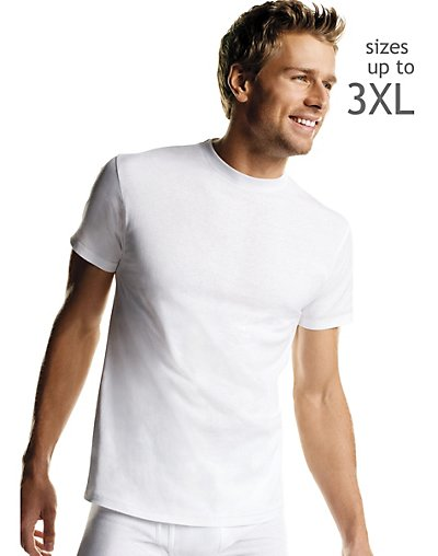 Hanes Big Men's White TAGLESS® Crewneck Undershirt 5-Pack - 2135P5B