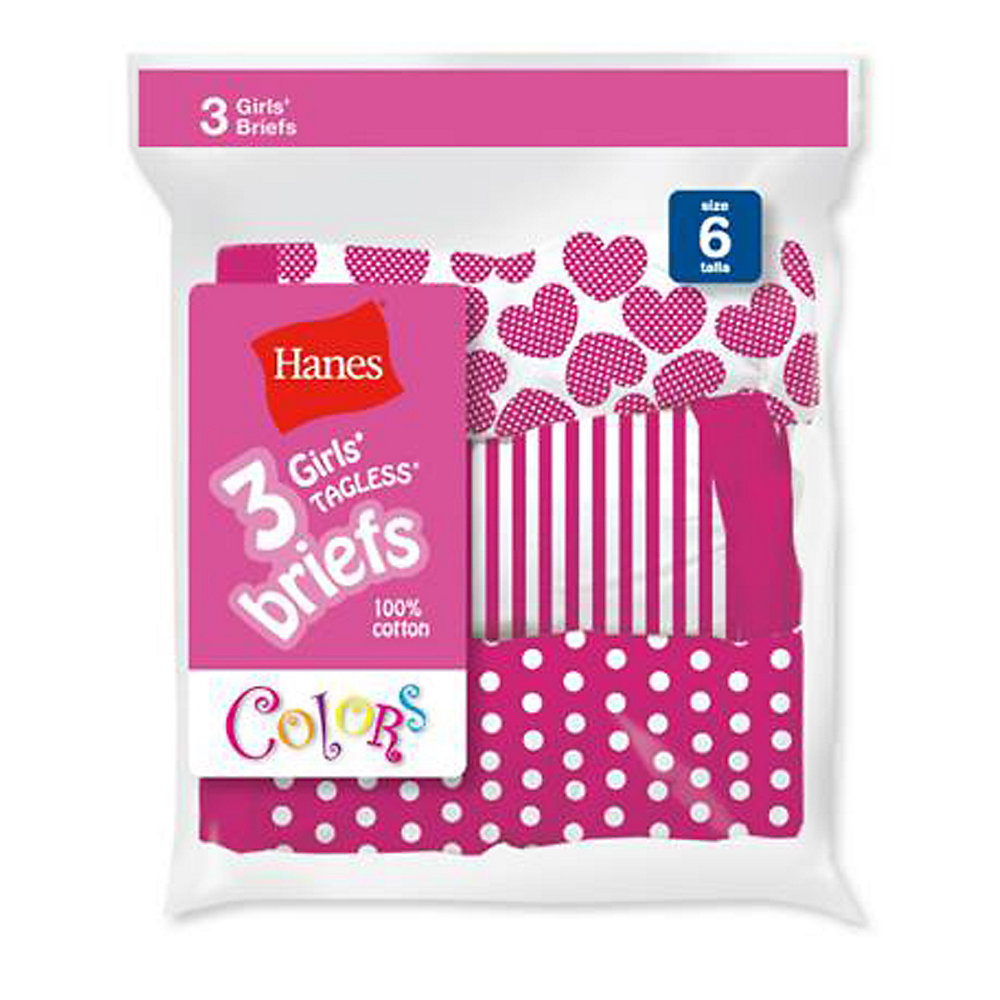 Hanes Girls Cotton Brief - P3BRMP - Assorted - 6 at Sears.com