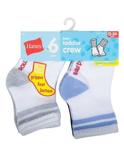 Hanes Infant Toddler Boys' Crew Socks 6-Pack - 26T6