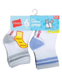 Hanes Infant/Toddler Boys' Crew Socks 6-Pack youth Hanes